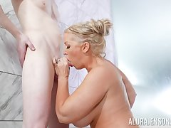 Alura Jenson treats a gent surrounding her huge fun bags and cunt in the shower