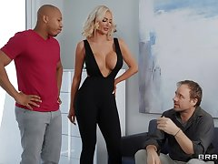 Black wood gives unpredictable intensify blonde bombshell Nicolette Shea what she needs