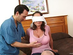 Blind-folded wife experiences her first abode gangbang