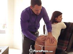 Hot secretary Keisha Grey shows heavy gut at a bustle interview