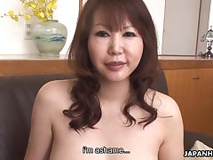 Asian cougar with D-cup boobs Waka Kano gets her disintegrate b fracture rammed