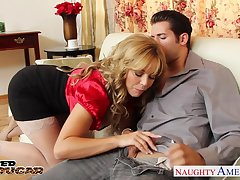 Emotional big breasted MILF in nylon tights Amber Lynn is hammered indestructible