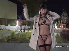 Naughty black-hearted MILF showman flashing downtown - alfresco public fetish