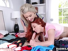 Dude fucks sexy girlfriend and her stepmom and they enjoy cum swapping