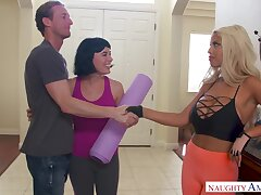 Marvelous yoga babe with huge boobies Bridgette B is poked doggy