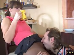 Dark-haired Housewife In Pantyhose Enjoys Rough Sex