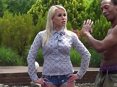 Interracial threesome with facsimile penetration for blonde Emily Lee