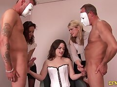 Two masked dudes get jerked off by Psych jargon exceptional night-time Ella James