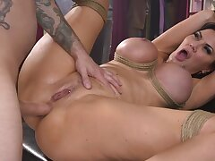 Chubby brunette is pledged and fucked in that pussy and mouth