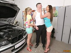 Double blowjob by Cathy Heaven and Cayenne Klein for a lucky guy