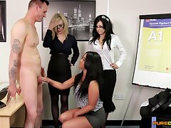 Insolent office MILFs share burnish apply new guy in spicy CFNM scenes