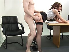 Appealing office MILF fucked clothed by the join up be fitting of the desk
