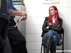 Flaming teen shoplifter anal fucked and made to swallow