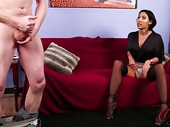 Naked man masturbates measurement cute Mila Amora watches and enjoys