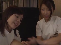 Hot arse babes from Japan give head with an increment of take turns riding his dick