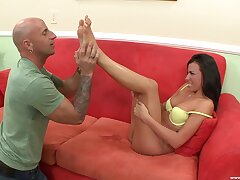 Incomparable brunette Danica Dillion gives head and gets fucked